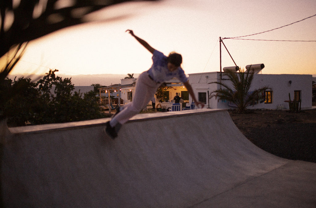 Dominyka skate in the pink light at Casa Maccaroni Fuerteventura miniramp